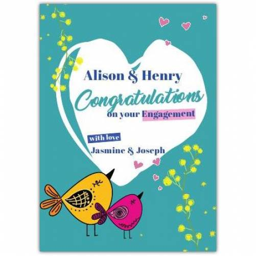 Congratulations On Your Engagement Two Names With Love Two Birds Card