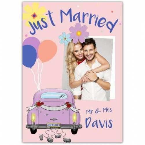 Just Married Mr & Mrs Car And Photo Card