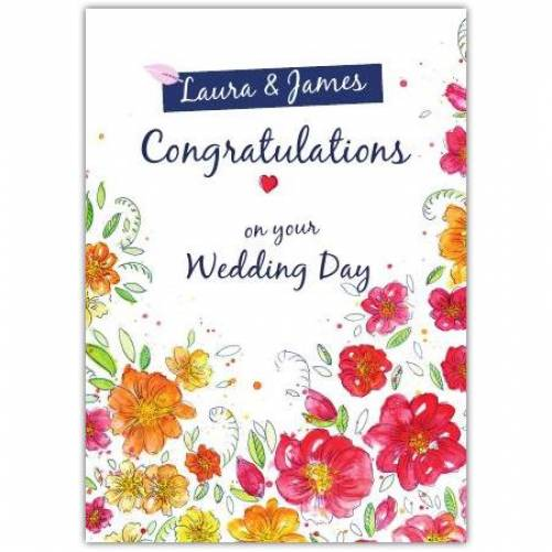 Congratulations On Your Wedding Day Two Names White With Flowers Card