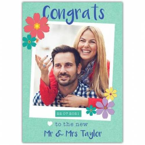 Congrats To The New Mr & Mrs With Date And Photo Card