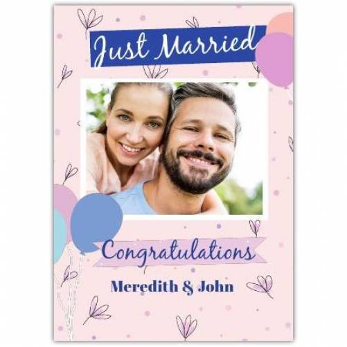 Just Married Congratulations Ballons And Photo In Square Box Card
