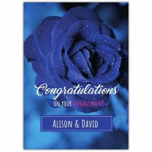 Congratulations On Your Engagement Blue Rose Card