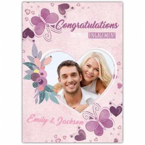 Congratulations Engagement Purple Butterfly Photo In Heart Card