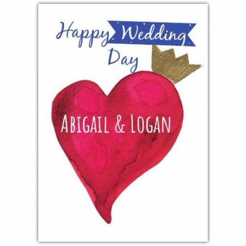 Happy Wedding Day Pink Heart Gold Crown Card
