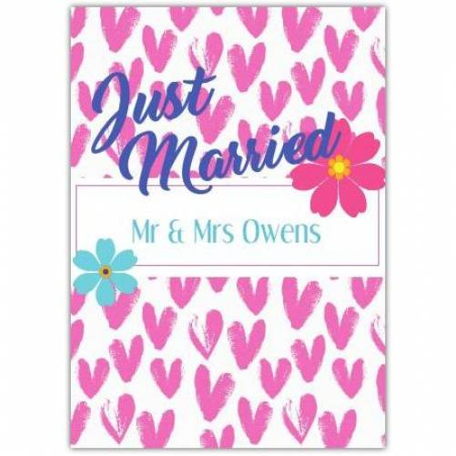 Just Married Pink Hearts Flowers Two Names Card