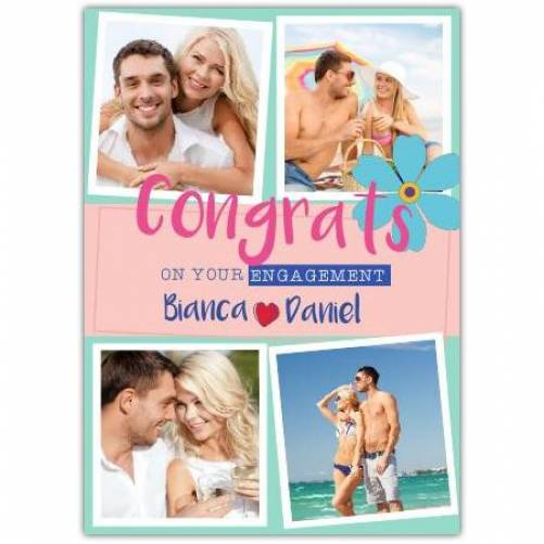 Congrats On Your Engagement Two Names Four Square Photos Card