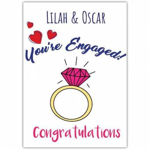 You're Engaged Two Names Congratulations Diamond Ring Card