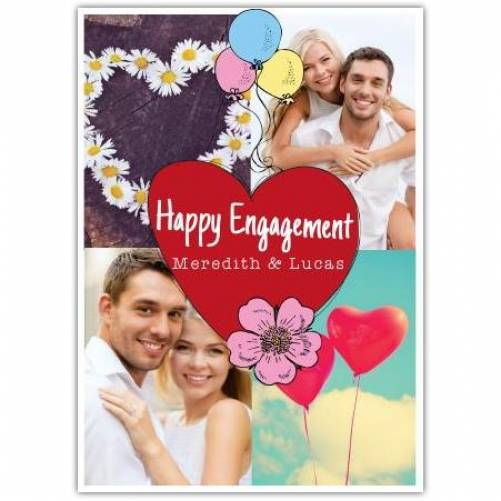 Happy Engagement 2 Photos Balloons And Hearts Card