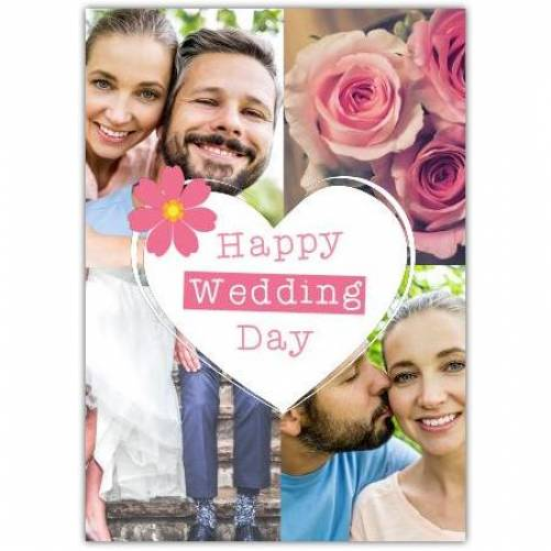 Happy Wedding Day With Photos And White Heart In Centre Card