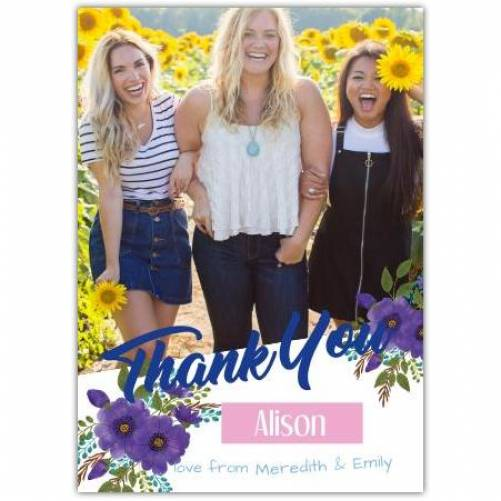 Thank You With Photo Love From Purple Flowers Card