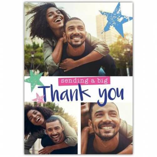 Sending A Big Thank You Three Photos Green And Blue Stars Card