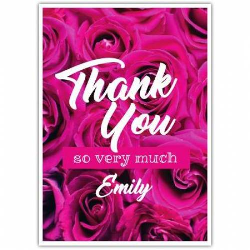 Thank You Pink Flowers So Very Much And Name Card