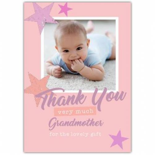Thank You Very Much Grandmother Pink And Purple Stars Card