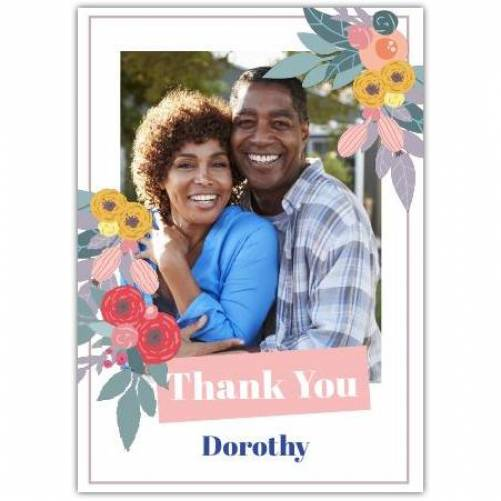 Thank You Flowers And Photo And Name  Card