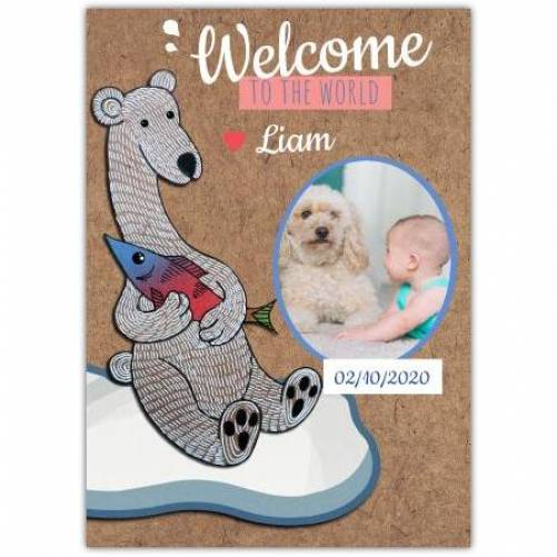 Welcome To The World Photo With Name And Date Brown Card