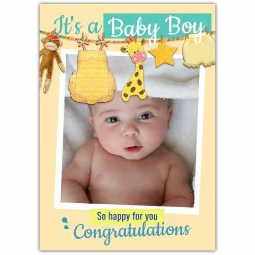 It's A Baby Boy Clothe Line So Happy For You Card