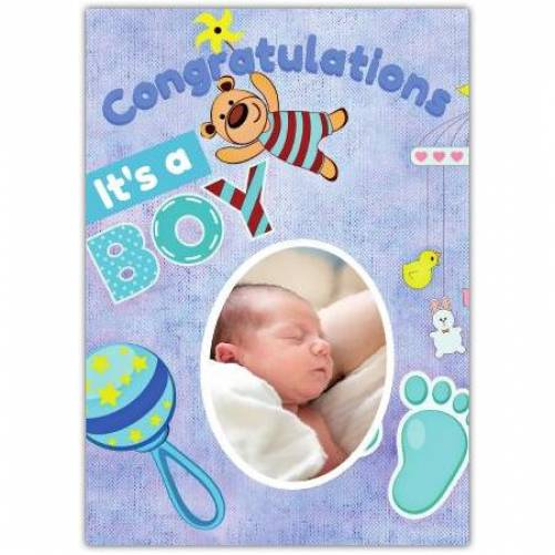 Congratulations It's A Boy Blue Rattler And Foot Print Card