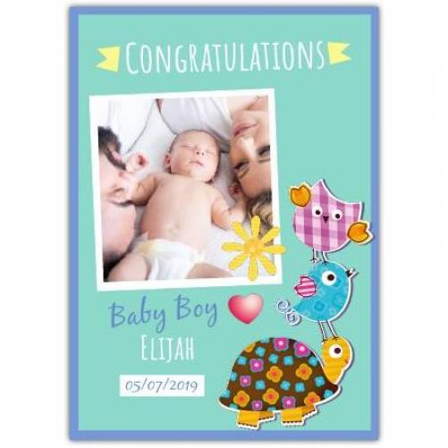 Congratulations Baby Boy Blue Turtle Bird Date And Name And Photo Card