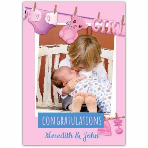 Congratulations Baby Pink Clothes Line Girl Card