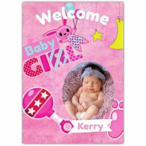Welcome Baby Girl Pink With Photo And Rattler Card