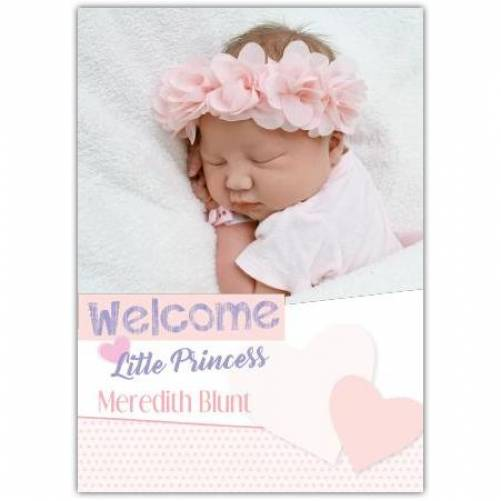 Welcome Little Princess Name And Photo Pastel Hearts Card