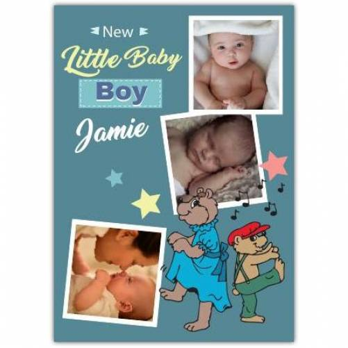 New Baby Boy Three Photos Stars And Music Card