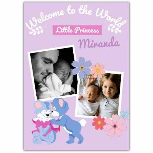 Welcome To The World Little Princess Two Photos Purple  Card