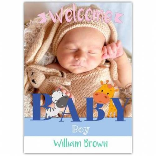 Welcome Baby Boy With Name Baby Giraffe Card