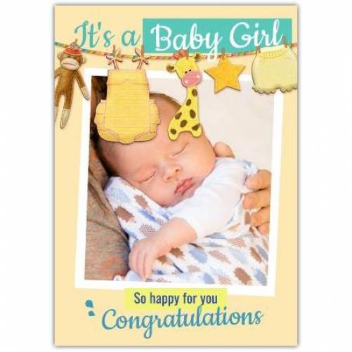It's A Baby Girl So Happy For You Photo Clothes Line Yellow Card