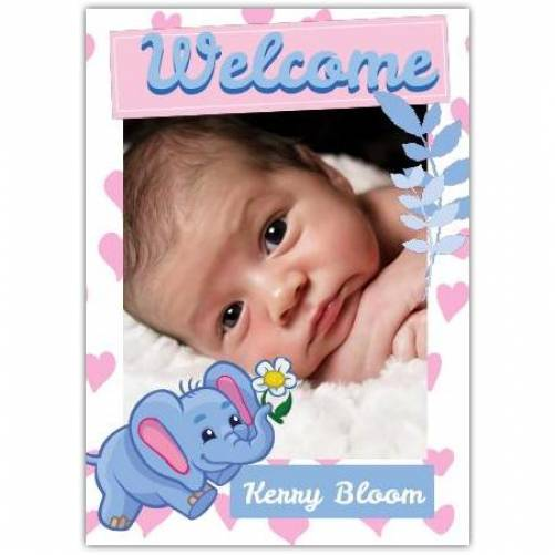 Welcome Baby Photo Cute Blue Baby Elephant Card
