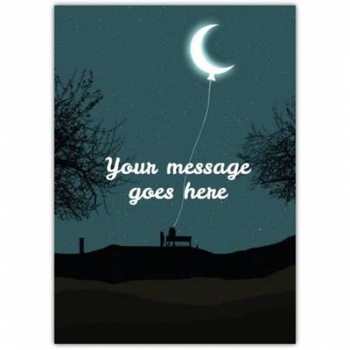 Moon On String With Bench Silhouette Card