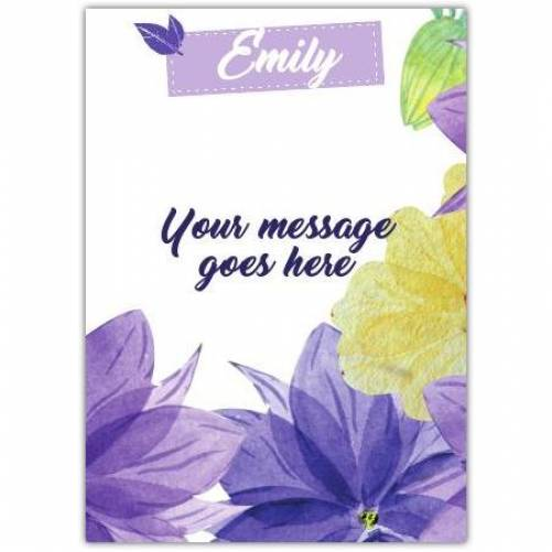 Purple Flower With Name At Top Card