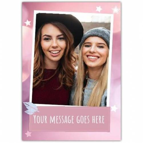 Single Photo In White Frame On Pink Card Stars And Feather Card