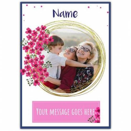 Photo In Circle With Pink Blossoms With Message Card