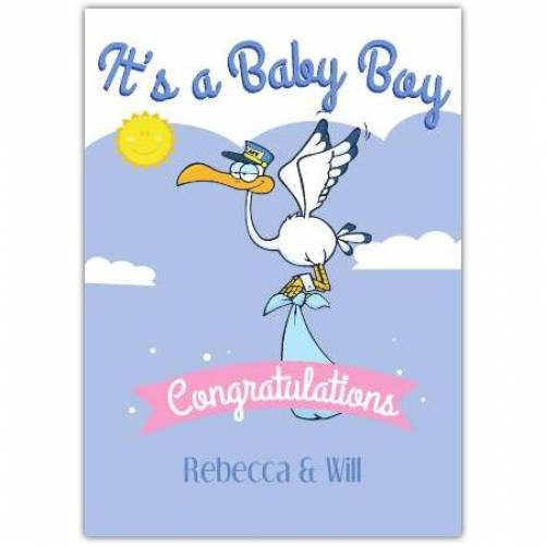 It's A Baby Boy Congratulations Delivery Stork Card