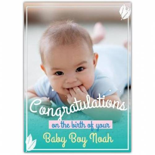 Congratulations On The Birth Of Yoru Baby Boy Full Photo Card