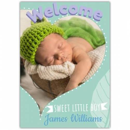 Welcome Sweet Little Boy Blue Card Photo Heart Banner Card