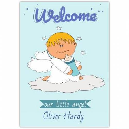 Welcome Winged Baby On Cloud Our Little Angel Card
