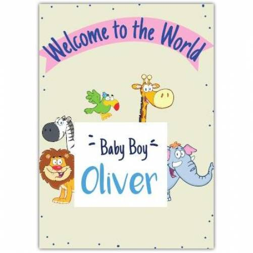 Welcome To The World Zoo Animals Baby Boy Card