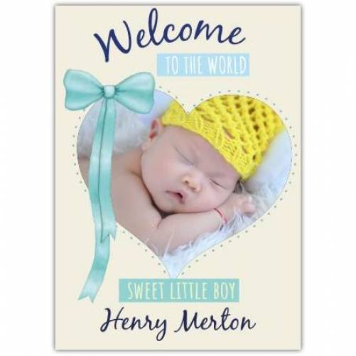 Welcome To The World Sweet Little Boy Blue Ribbon Photo Card