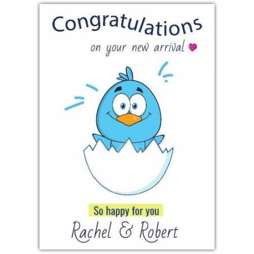 Congratulations On Your New Arrival So Happy For You Chick In Egg Card