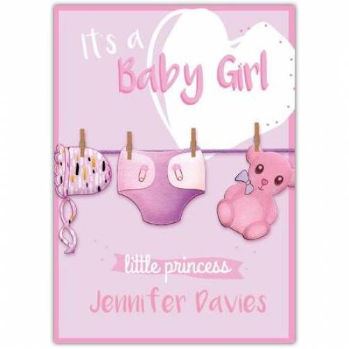 It's A Baby Girl Clothes Line Pink Bear And Pink Hat Proncess Card