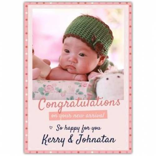 Congratulations So Happy For You Pink One Photo Circles Card