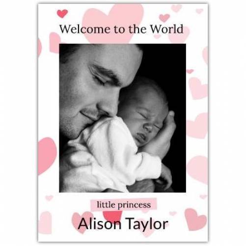 Welcome To The World Little Princess Photo Pink Hearts And Name Card