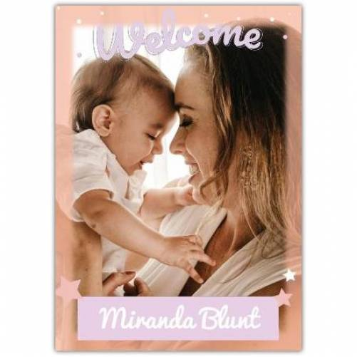 Welcome Purple Stars One Photo Baby  Card