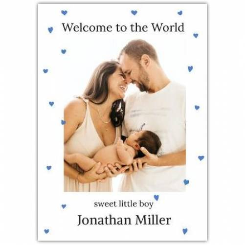Welcome To The World Sweet Little Boy White Photo Card