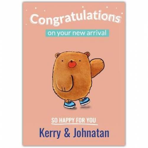 Congratulations Bear So Happy For You Names Card