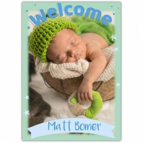 Welcome One Photo Green Name And Stars Card