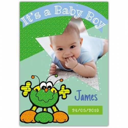 It's A Baby Boy Green Hug Star Photo Card