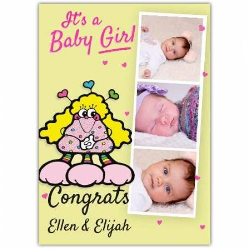 It's A Baby Girl Three Photos Congrats Card